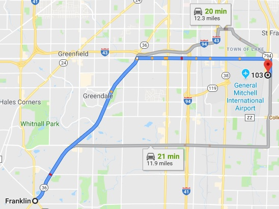 Directions from Franklin to our Chiropractic Office in Cudahy