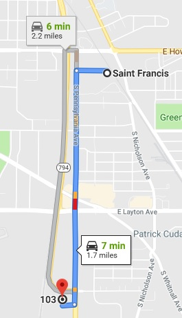 Directions from Saint Francis to our Cudahy office