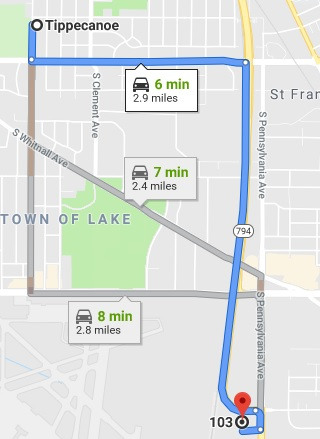 Directions from Tippecanoe Milwaukee to our Cudahy Chiropractic office